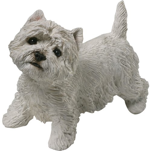 Sandicast Mid Size West Highland White Terrier Sculpture, Standing Miniature West Highland White Terrier