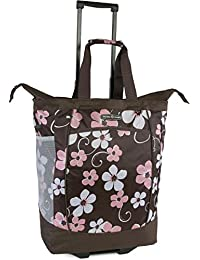 Large Rolling Shopper Tote Bag, Hawaiian Pink