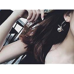 JD Million shop 2017 Korean Simple Metal Ball Asymmetric Big Circle Earrings Brincos Drop Earrings For Fashion Women ED054