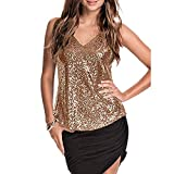 UONQD Women Sleeveless Sexy Blouse Sequined Strappy