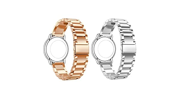 ECSEM Replacement 2pcs Premium Solid Stainless Steel Watch Bands ...