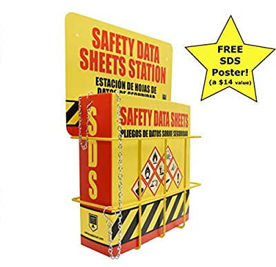 SDS Display Rack - Complete Set with Ring Binder, Wire Rack, SDS Station Sign, Chain, Mounting Hardware, Plus Free SDS Poster, Bilingual with English/Spanish,Heavy Duty 3 inch Capacity Holds 600 Pack