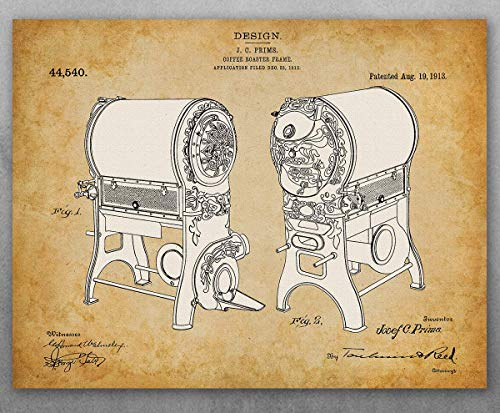Poster - Coffee Roaster Patent - Choose Unframed Poster or Canvas - Makes a Great Gift for Coffee Lovers and Coffee Shops ()
