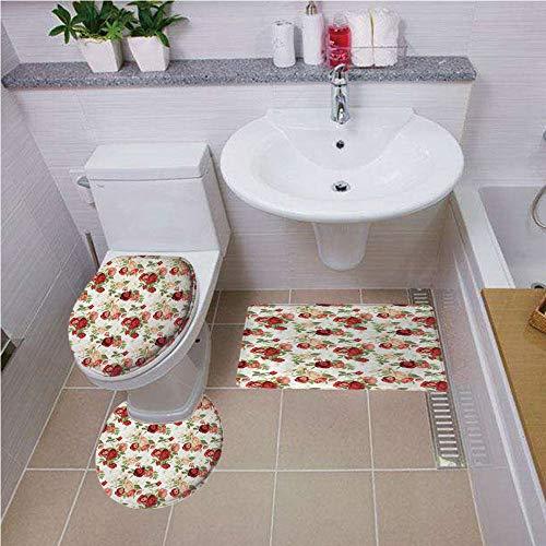 (Bath mat set Round-Shaped Toilet Mat Area Rug Toilet Lid Covers 3PCS,House Decor,Roses Bouquet Romance Holiday Love Anniversary Luxury Ornament Decorating, ,Bath mat set Round-Shaped Toilet Mat Area R)