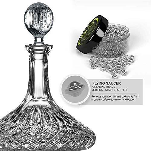(Reusable Stainless steel Cleaning Beads Agents NEW STYLE Flying Saucers shape - For Glass Decanters / Wine Bottles / Carafes / Narrow Spouted Vases / Hard To Reach Spots. Erase Dirt-Limescale-Sediment)
