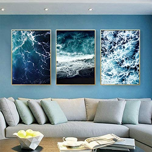 ポスター海壁アートポスタープリント水ポスター黒抽象絵画壁写真リビングルームの装飾-50x70cmx3ピースフレームなし