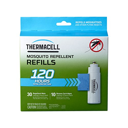 Appliance Thermacell - Thermacell Mosquito Repellent Refills, 120-Hr Pack; Contains 30 Repellent Mats, 10 Fuel Cartridges; Compatible with Any Fuel-Powered Product; No Spray, Scent, Mess; 15 Ft Zone of Protection