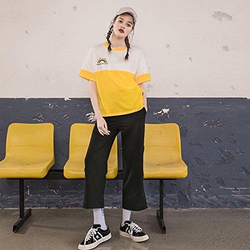 Contraste Amarillo Color Manga Corta Corbata Para Mujer Dyy Flojo De Camisa Verano Blanca xqF74fw