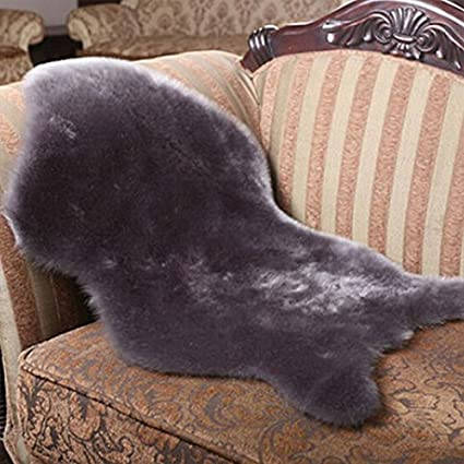 Washable Fur Fluffy Wool 2-in-1 Chair Seat Cover Carpet Rug Mat Bedroom