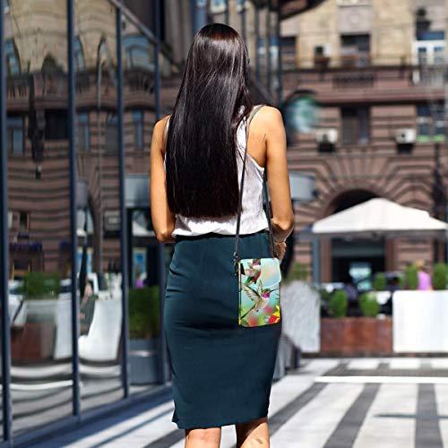 Hdadwy mobiltelefon crossbody väska kolibrier röd blomma hibiskus kvinnor PU-läder mode handväska med justerbar rem