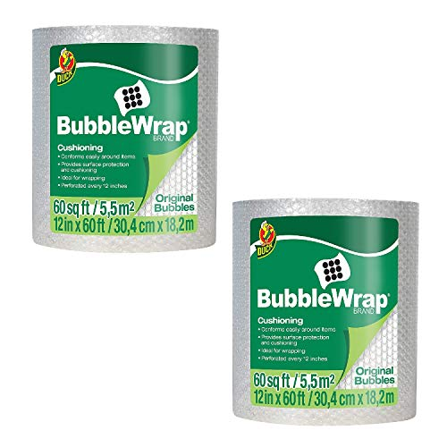 "Duck Brand Bubble Wrap Roll, Original Bubble Cushioning, 12"" x 60', Perforated Every 12"" (1061835) (2 Pack 12 in. x 60 ft.)"