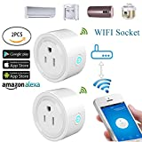 Elayce 2 Pack WiFi Smart Plug Mini Plug WIFI plug alexa Remote Control Your Appliances Anywhere, Timing Function, Works with Alexa Echo and Google Home for Voice Control, No Hub Required Smart Socket
