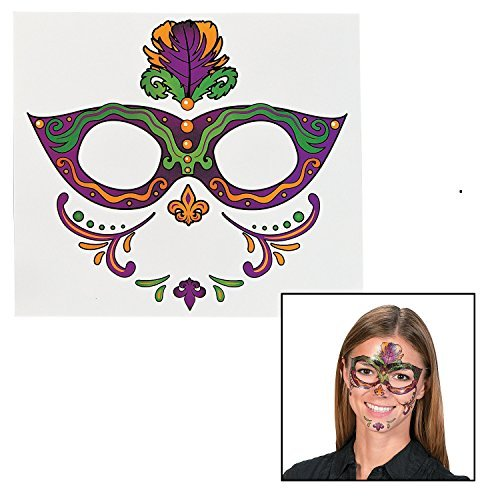 Mardi Gras Full Face Tattoo (12 Pack) Eye Mask Temporary Tattoos