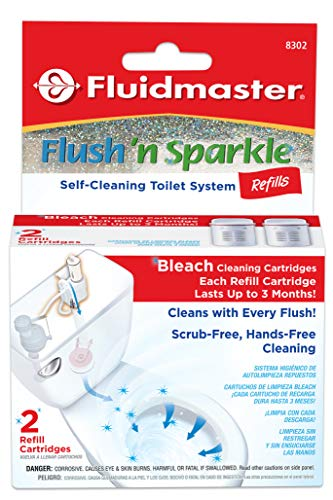 Fluidmaster 8302P8 Flush 'n Sparkle Automatic Toilet Bowl Cleaning System Refills, Bleach 2-Pack ()