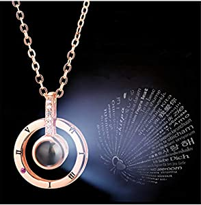 Inf-way I Love You Necklace, 100 Languages Projection on Round Onyx Pendant Loving Memory Collarbone Necklace 1 Pcs