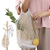 Staron  Cotton Shopping Net Bag Reusable Grocery Bag Beach Bags Mesh Bags Foldable Tote Set for Grocery Shopping Beach Storage Fruit Vegetable (A)