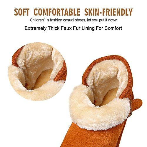 CIOR Womens Suede Leather Winter Snow Boots Genuine Short Vegan Classic Orange03 iuDxZ