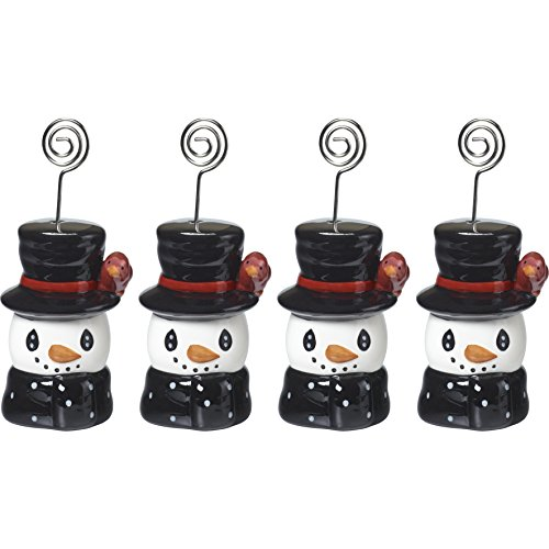 Precious Moments Snow Much Fun by Ceramic Snowman Place Card Holder (Set of 4), Multicolor