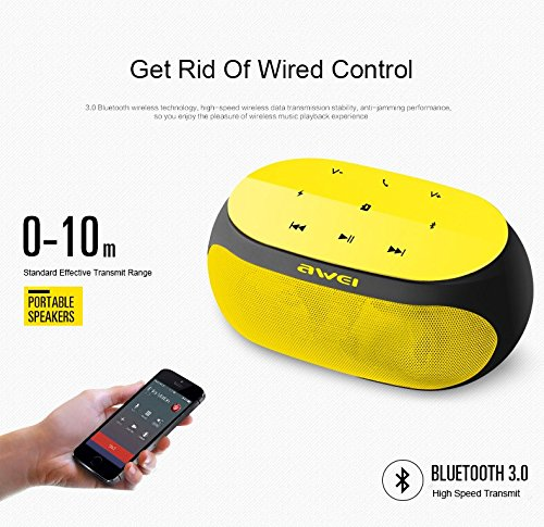 Cellphonez® Awei Y200 Wireless Portable Bluetooth Speaker with Memory Card Slot.  Yellow
