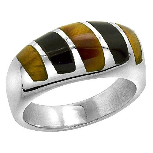 Sterling Silver Obsidian & Tiger Eye Ring for Men Oval Vertical Stripes Solid Back Handmade, size 10