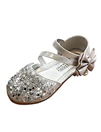 Toddler/Little Kid Girls Bows Closed Toe Princess Dress Mary Jane Flat Shoes (25, Silver)
