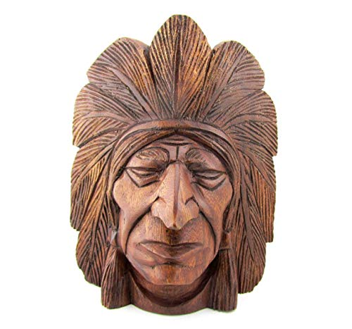 Blue Orchid Hand Carved Wooden Indian Head (Navajo) -