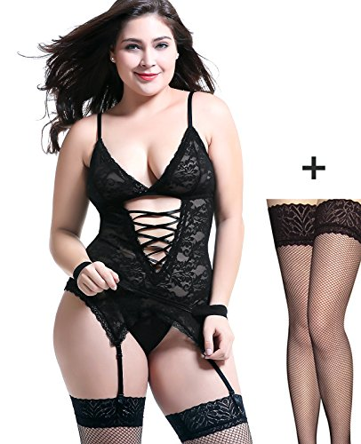 Anyou Lingerie for Women, Floral Lace Teddy Lingerie Bodysuit Black (Lace Baby Doll Teddy)