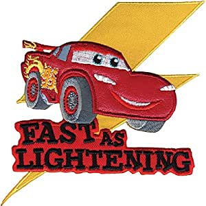"""Disney - Aplique para ropa, diseño de Cars y texto en inglés """"Fast As Lightening"""""""