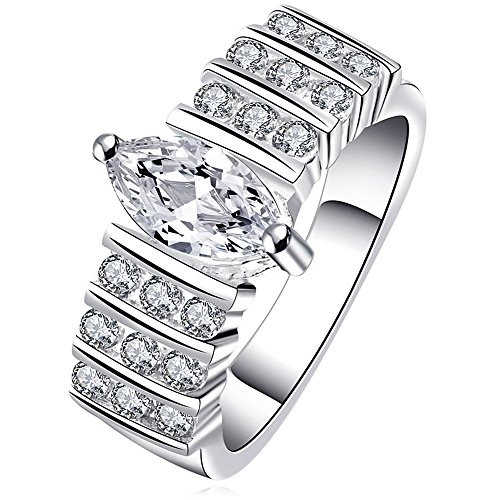 BOHG Jewelry Womens 925 Sterling Silver Plated Wide Cubic Zirconia CZ Bridal Ring Engagement Wedding Band Size 7 (Wide Band Rings compare prices)