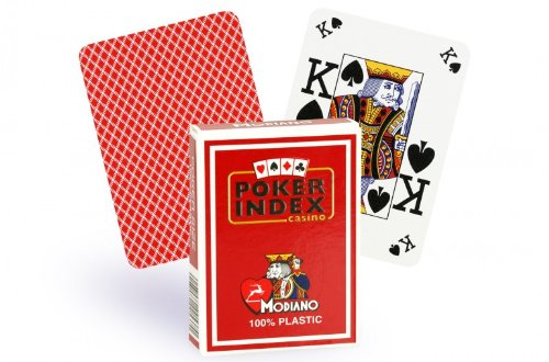 Modiano Italian Poker Game Playing Cards - RED Poker Index - Single Card Deck - 100% Plastic Made in Italy (Italian Plastic Modiano 100%)