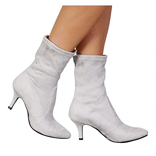 c8252091bb7d Shoe Closet Ladies Light Grey Sock Stretch Kitten Heel Ankle Boots  UK7 EURO40 AUS8