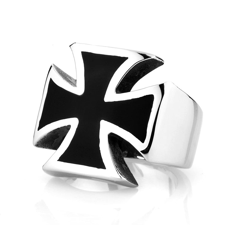 Men's Vintage Gothic Stainless Steel Band Rings Silver Black Cross Biker Rings Size 7-13