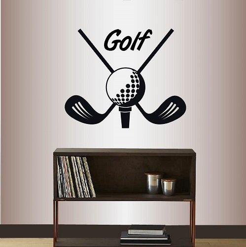 Wall Vinyl Decal Home Decor Art Sticker Golf Sign Crossed Golf Clubs with Golf Ball Emblem Golfing Sport Club Bedroom Living Room Removable Stylish Mural Unique Design -