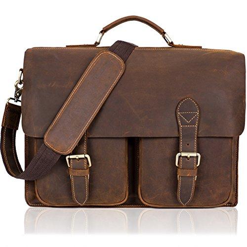 NiceEbag Genuine Leather Messenger Bag Vintage Briefcase Retro Shoulder Tote Satchel Bag Business Top Handle Bag for Laptop/ Computer/ Ultra-book/ Tablet/ Macbook/ Fit 15.6 Inch for Men Women (Brown) by NiceEbag