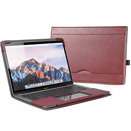 TYTX MacBook Pro Leather Case 13 Inch Laptop Sleeve Protective Folio Book Cover (Wine Red) Case Sleeve Folio Cover