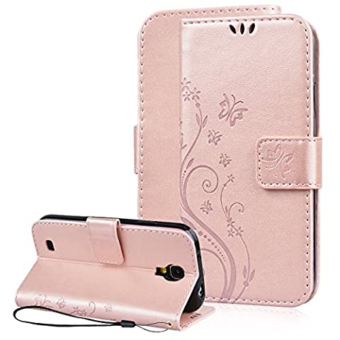 Galaxy S4 Wallet Case, SmartLegend Embossed Floral Butterfly PU Leather Magnetic Flip Folio Cover with TPU Soft Bumper Case & Card Holders & Hand Strap for Samsung Galaxy S4 Rose (Galaxy S4 Cases With Card Holder)