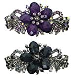 Bella Set of 2 Large Barrettes Hair Clips for Women Decorated with Beads and Crystals U86012-0052-2jetPur