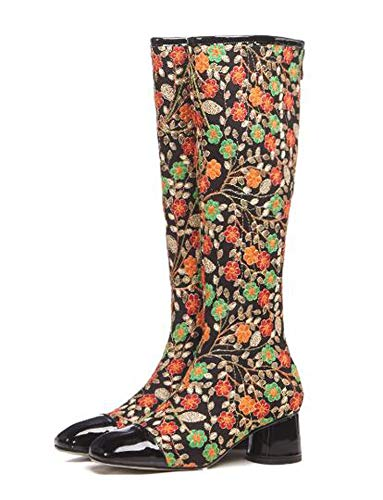 miracle Privacyy Fashion Embroidered Knee High Boots Ethnic Women High Heel Boots Zipper Lady Shoes,Black,38 ()