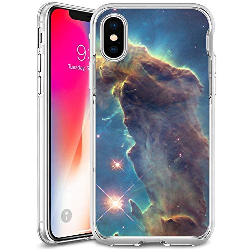 Owa UV Printing Case for iPhone X|10|Xs, Shock-Absorption Bumper Cover, Anti-Scratch Clear Back, HD Clear - Outer Space