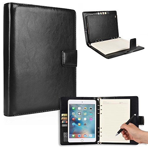Cooper FOLDERTAB Padfolio Case Compatible with iPad Mini 4   Business Executive Organizer with Notepad   Vegan Leather, Left Right Handed Binder, Notebook Refill, Pockets   Apple A1538 A1550 (Black)