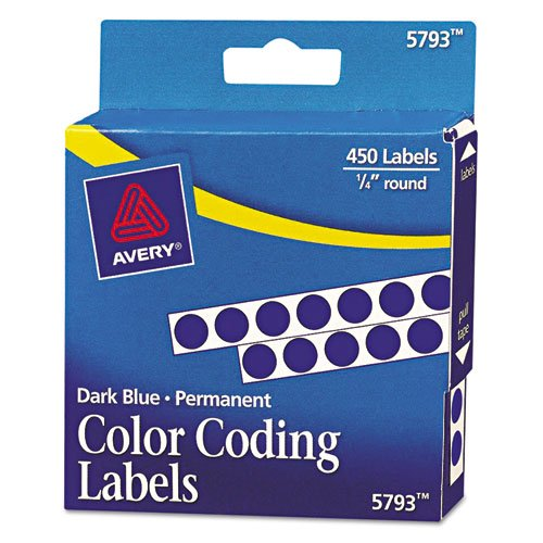 (Avery - Permanent Self-Adhesive Color-Coding Labels, 1/4in dia, Dark Blue, 450/Pack 05793 (DMi PK)