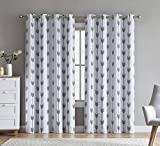 HLC.ME Arrow Printed Privacy Blackout Energy Efficient Room Darkening Thermal Grommet Window Curtain Drape Panels for Kids Bedroom - Set of 2 - Platinum White/Grey - 84' inch Long