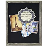 Lawrence Frames Black Linen Display Area Shadow Box Frame with Decorative Classic Design, 11 x 14'', Gray