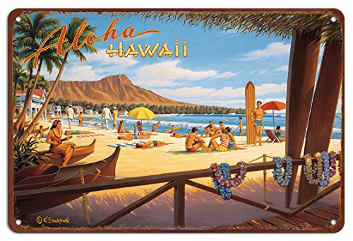 Tin Hawaii (Pacifica Island Art 8in x 12in Vintage Hawaiian Tin Sign - Aloha Hawaii by Kerne Erickson)