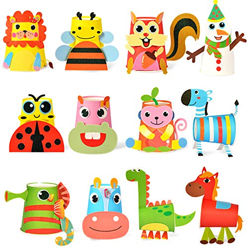 Here Fashion Pack of 12 Sticker Paper Cup Art Kit for Toddler Crafts Art Toys - Transform Simple Paper Cup into a Wonderful Friendly Animals Adventure