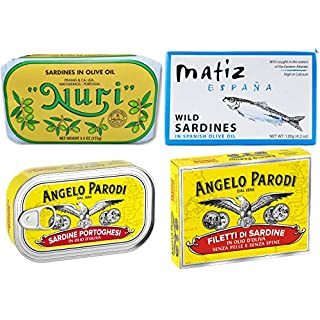 Nuri, Matiz and Angelo Parodi Sardines in Olive Oil | 8 Pack | Premium European Sardines Lover Multi-Brand Variety Pack | Superb Bundle Collection of Gourmet Sardines from Europe | 2 Cans of Each Variety