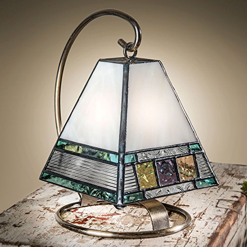 J Devlin Lam 695 Tiffany Stained Glass Mini Lamp Blue Green Purple Amber Peach Accent Night Light - Soft Green Accent Lamp