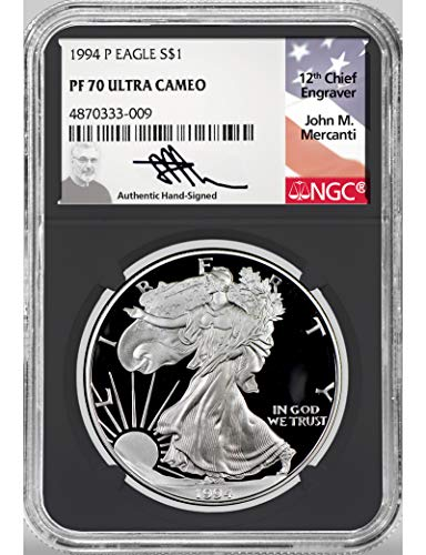 1994 P American Silver Eagle Mercanti Signed $1 NGC PF70