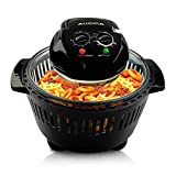 Black Digital Halogen Convection Oven Cooker with Lid Air Fryer Accessories Glass Bowl Timer Large 12L Electric Halogen Oven for Baking Grill (Black)