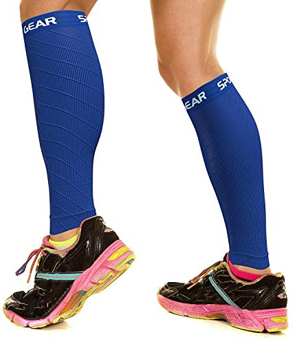 Physix Gear Sport Compression Calf Sleeves for Men & Women (20-30mmhg) - Best Footless Compression Socks for Shin Splints, Running, Leg Pain, Nurses & Pregnancy - Increase Circulation - BLU S/M - M/L